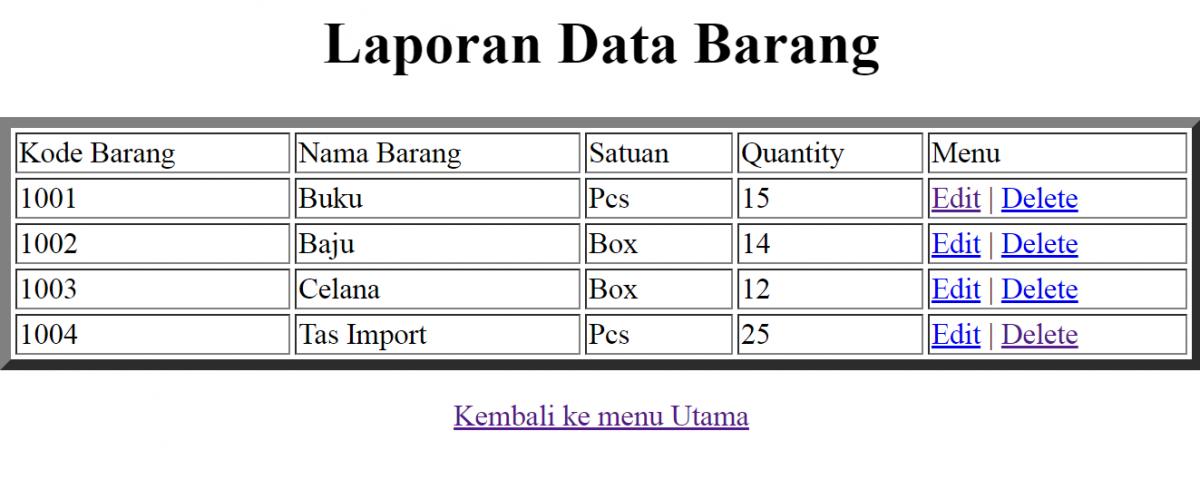 Contoh script php lihat data MySQL lihatbarang.php emerer.com
