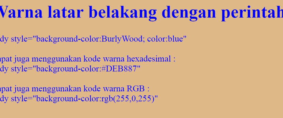 Cara mengatur warna Latar Belakang atau background HTML 5