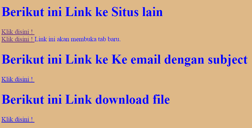 Membuat Link ke Situs Lain Link Download  Link Email