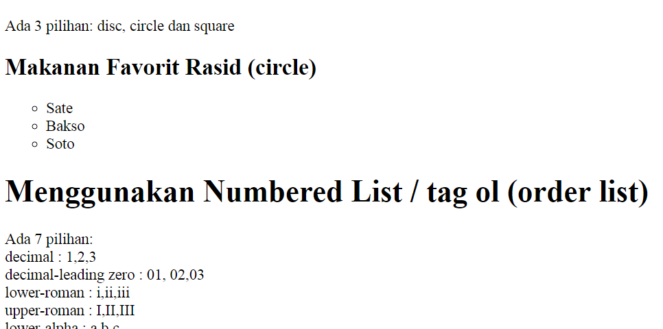 Style List untuk Bulleted List dan Numbered List HTML 5  emerer.com