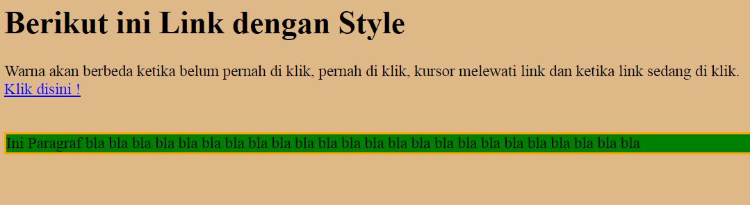 Style untuk warna Link dan Paragraf