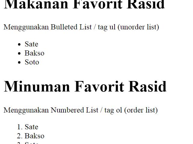 ara menggunakan Bulleted List dan Numbered pada List HTML 5  emerer.com