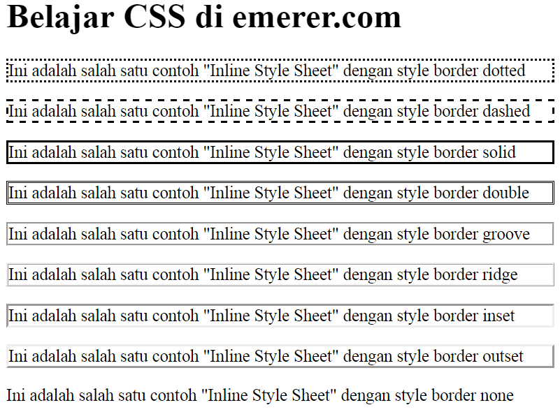 Css border style for Css inline table