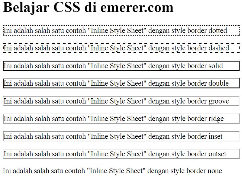 inline css border Style Sheet emerer.com