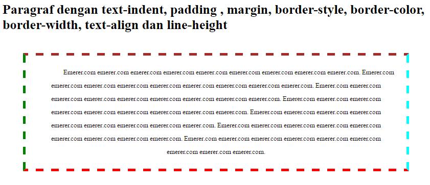 Aneka Pengaturan Paragraf HTML dengan CSS jarak antar baris tebal warna tipe border perataan emerer.com