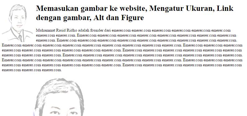 Memasukan Gambar ke Website, Mengatur Ukuran, Link dengan Gambar emerer.com